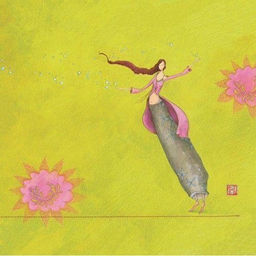 """Gaëlle Boissonnard  carte postale carrée (14 cm)  """"La danseuse aux bulles"""""""