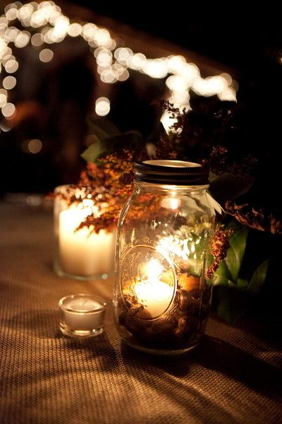 Obsessed with these #masonjar #candles ...filled with #acorns of course! {Tiffiney Photography}
