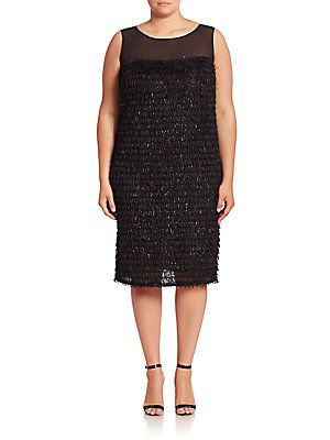 Marina Rinaldi, Plus Size Elegante Fluid Straight Fringe Dress