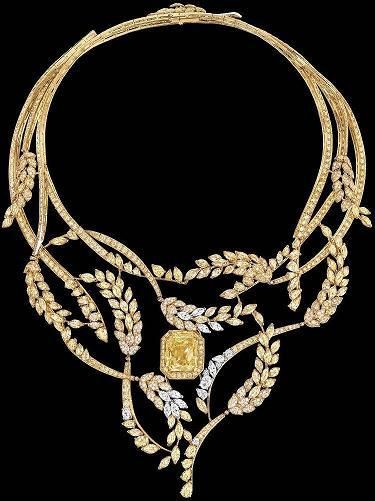 """Collection """"Le Ble '(62 jewels) presented in early July 2016 in Paris, taking inspiration from wheat; alluding to the birthday of Coco Chanel, August 19 (1883), which coincides with the feast of the harvest in some areas. This event gives the name ( """"Fete des Moissons"""") a set composed of necklace / bracelet / ring / earrings, piece de resistance (*) depicting post (photo & detail)."""