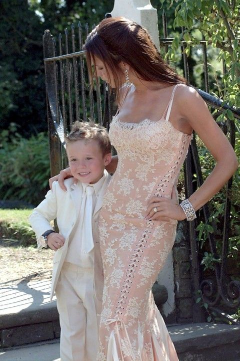VB in lace corset gown