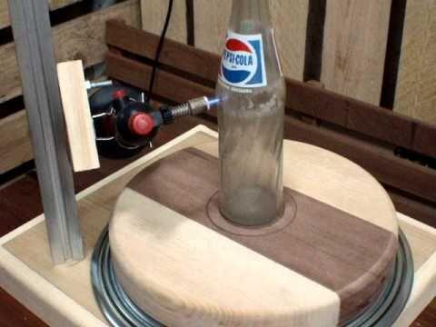 Maquina de cortar garrafa de vidro á gás.