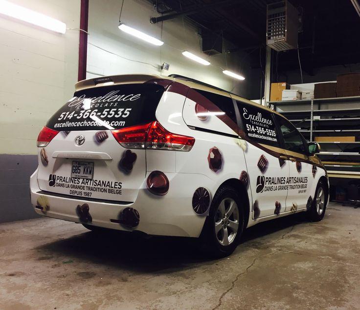 Car wrap on 2012 Totoya Sienna LE for Excellence Chocolates/Chocolats