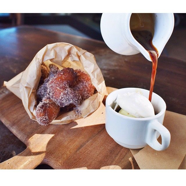 ricotta zeppole | salted latte + vanilla gelato + Cafe Virtuoso espresso poured tableside at #CUCINAurbana