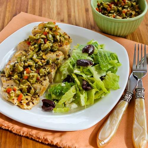 Pan-Grilled Chicken with Green Olive, Caper, and Lemon Relish (Low-Carb, Gluten-Free, Can Be Paleo) [from Kalyn's Kitchen]