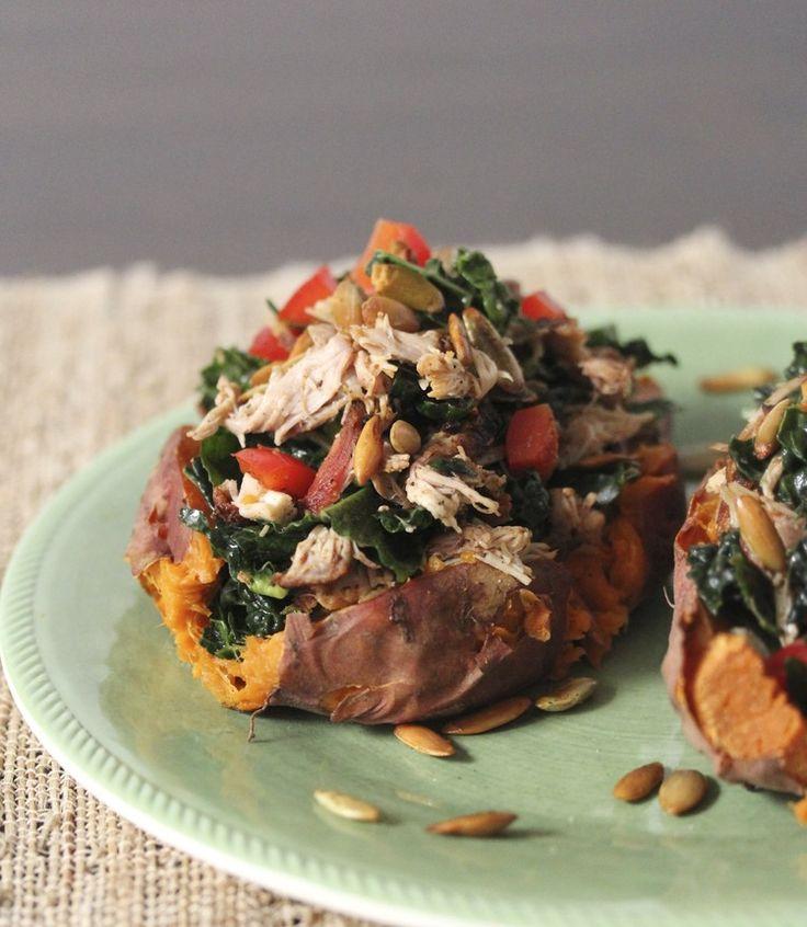 Chipotle Chicken Sweet Potatoes by barerootgirl #Sweet_Potato #Chicken #Healthy