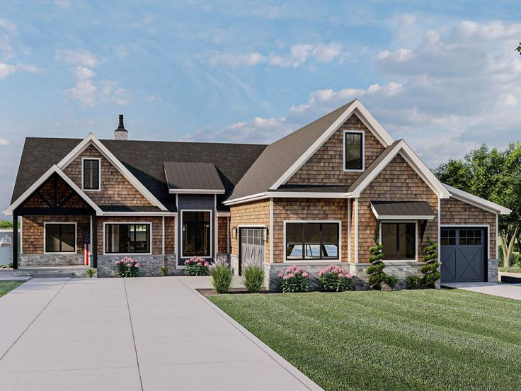 050h 0365 Ranch House Plan Fits A Sloping Lot Craftsman Style House Plans Ranch House Plans Basement House Plans