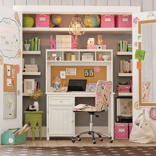 """a cool idea to save floorspace in the room I'm starting to remodel into my home office, I could tuck an office like this into the current closet in that room and have more room for a relaxing lounge area/ Great idea for a tween/teen girl's bedroom for a study area. Another option if my budget gets too tight to do a more """"elegant"""""""