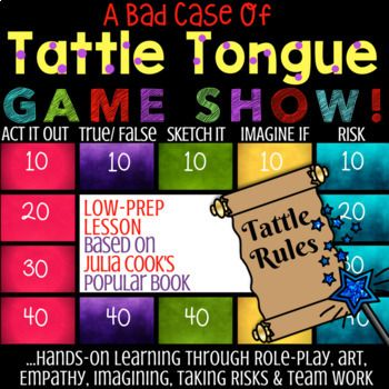 What do you get when you combine literacy, role playing, drawing, imagination, and team collaboration based on Julia Cook's book A Bad Case of Tattle Tongue? The Bad Case of Tattle Tongue GAME SHOW! This FuN!, LOW-PREP, EDITABLE, interactive lesson & game is the perfect supplement & to Julia Cook's book, A Bad Case of Tattle Tongue.