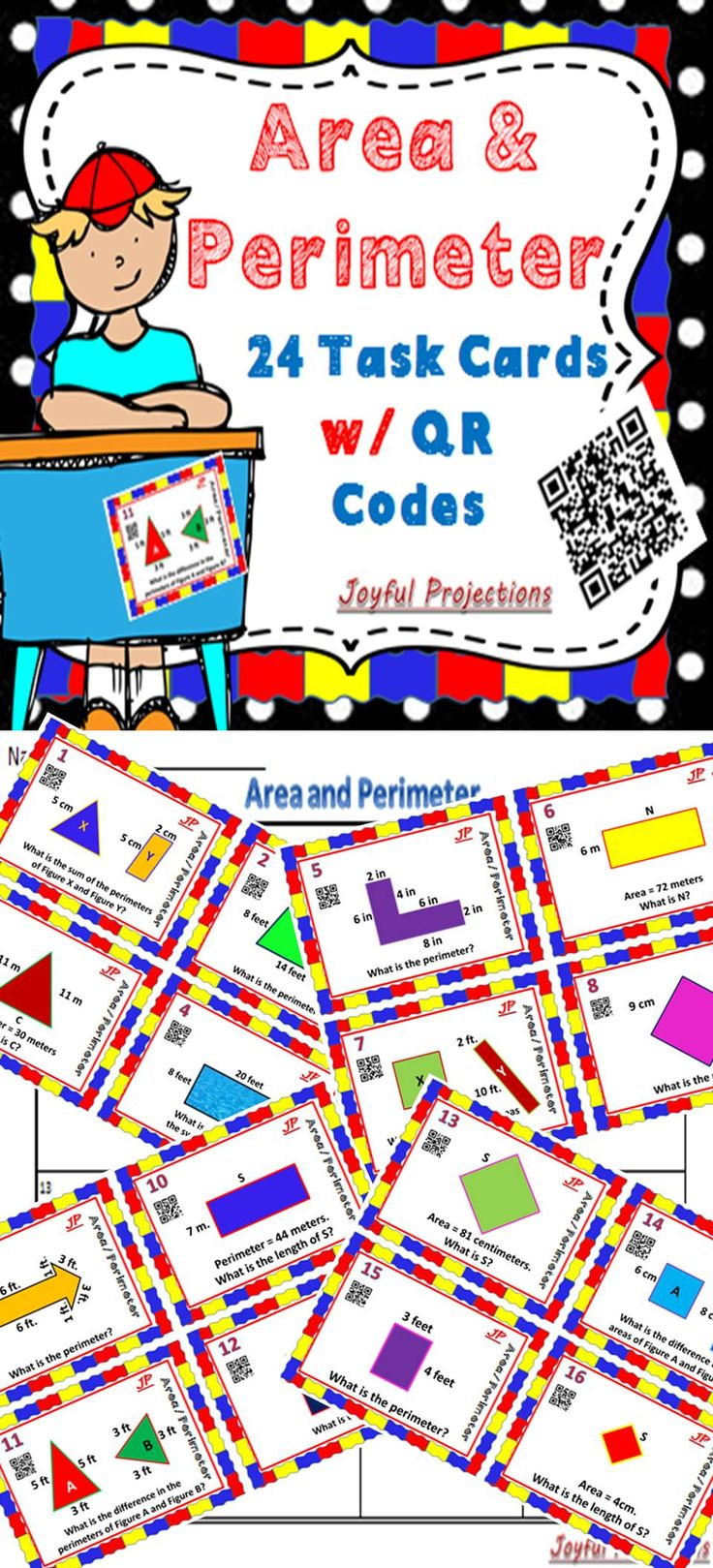 Use cards as task cards for early finishers, scoot them from one student to another, or use as a quiz. Students will multiply to find area, add to find the perimeter, or the sum of 2 areas or perimeters, subtract to find the difference between 2 areas or perimeters, and add and subtract to find missing sides in a given shape. Students can check their own answers using the QR codes!  A great review of Area and Perimeter!