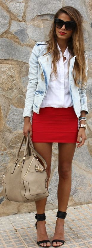 25  best ideas about Red mini skirt on Pinterest | Alexa chung ...