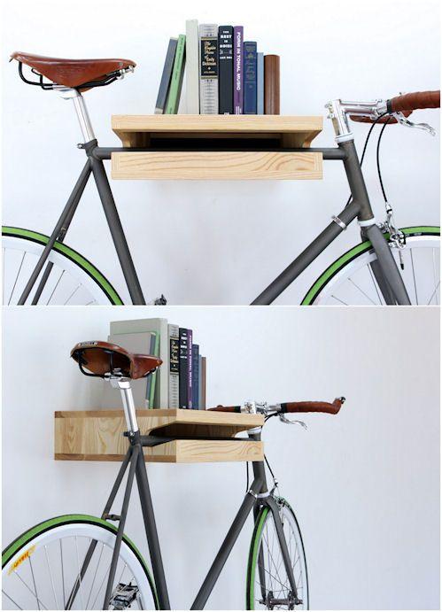 """Estantes para bicicletas. Convivo com este """"probleminha"""" aqui em casa e a ideia é boa."""