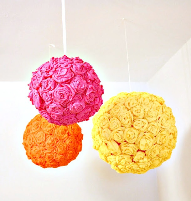 how to make crepe paper flower balls