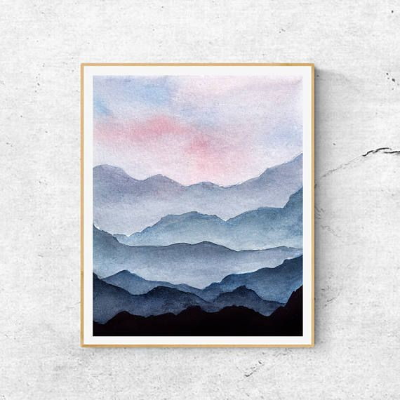 Mountains Art, Contemporary Art, Mountain Painting, Modern Art, Blue Mountains, Abstract Art, Mountains Art Print, Mountain Art Print