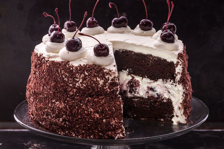 A Black Forest cake recipe with layers of devil's food cake, cherries, and whipped cream that makes an impressive birthday cake.