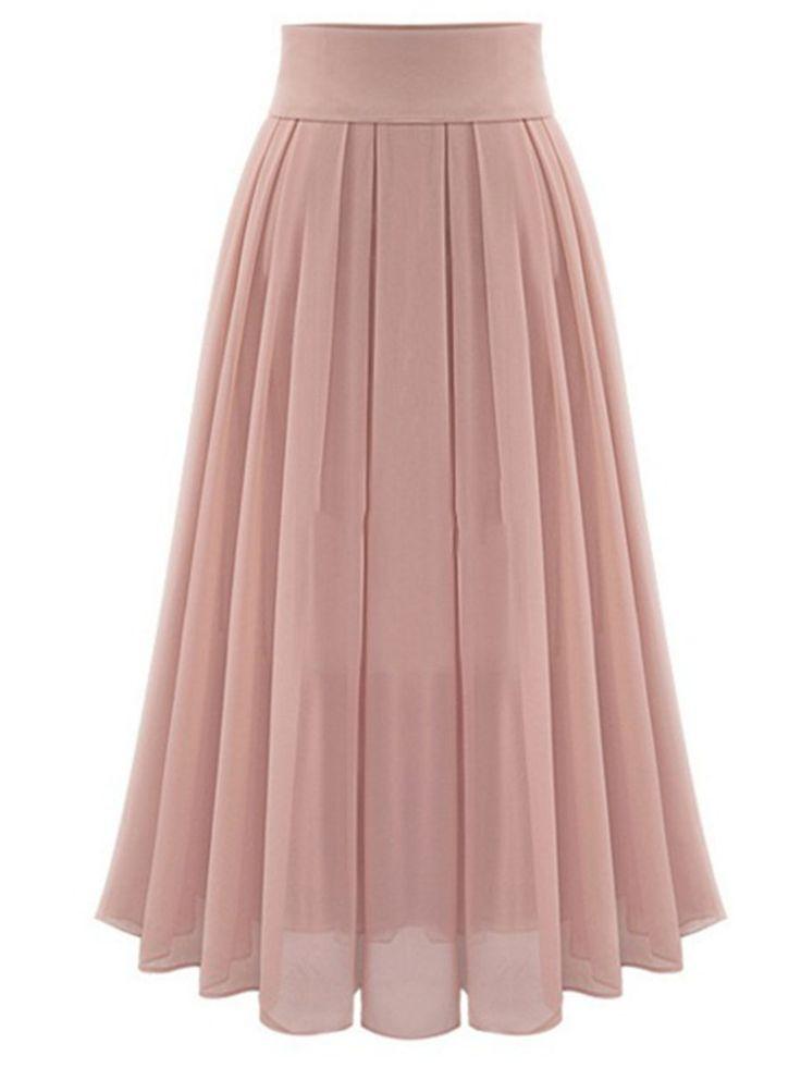 Asymmetric Flowy Pleated Women's #Maxi #Skirt