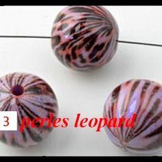 Destockage ! vite   3    grosse  perle synthetique  motif leopard  3 cm  accessoire creation bijoux