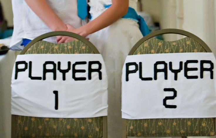 Video game wedding chair decorations. Totes doing this. We want to get this engraved in our rings too!