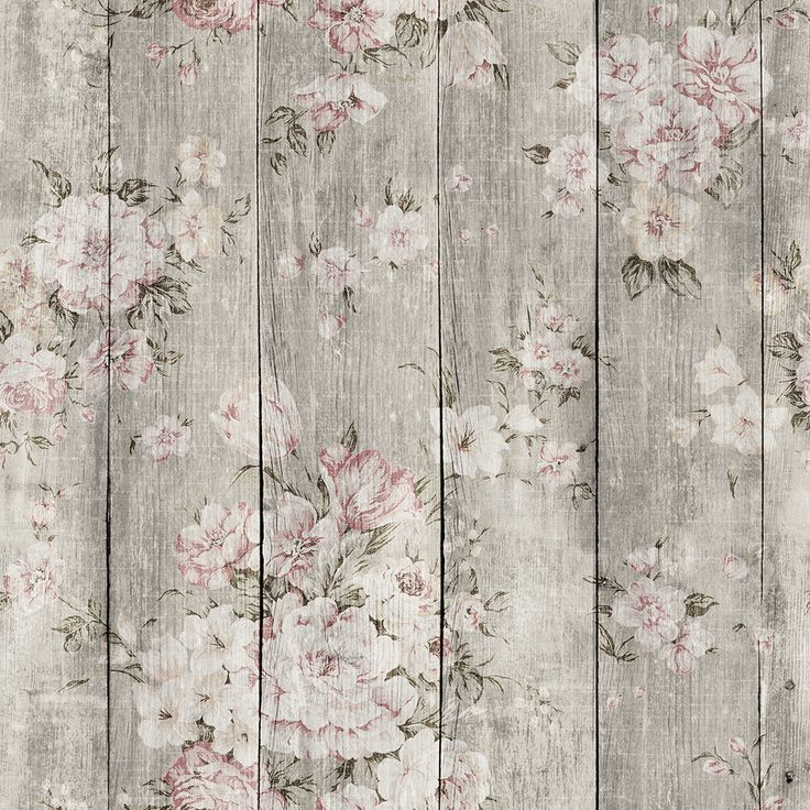 Wood Texture Floral Removable Wallpaper Adhesive