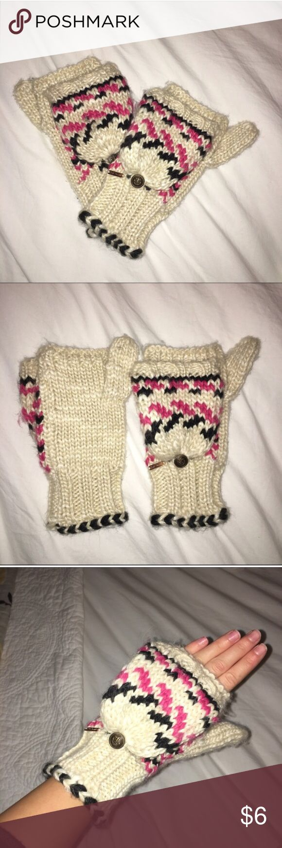 Free People mittens Free People cream mitten with pop-top option with small button closure featuring an anchor. Pink and black stitching. Only worn twice! Free People Accessories Gloves & Mittens