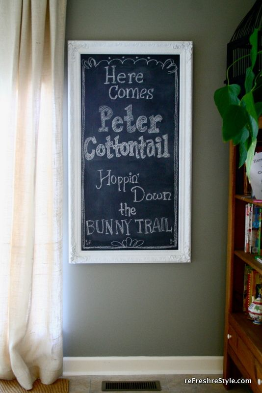 easter chalk board message