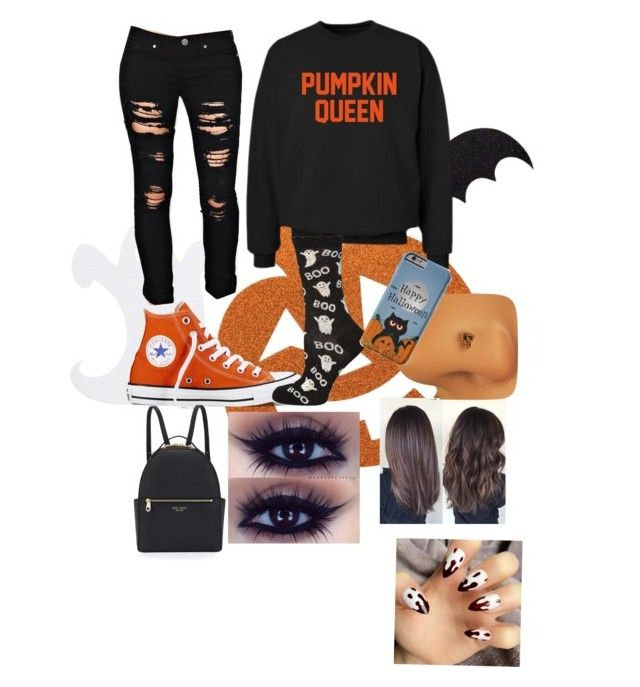 Halloweenn by dramallamaalert on Polyvore featuring CO, Dorothy Perkins, Converse and Henri Bendel