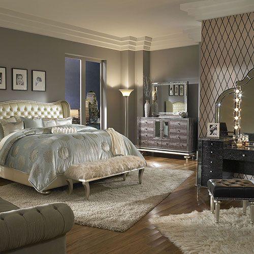 My bedroom furniture! Love!! Hollywood Swank Bedroom | Michael Amini Furniture Designs | amini.com