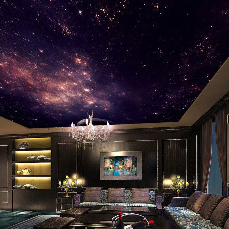Custom Murals 3D Star Nebula Night Sky Wall Painting Ceiling Smallpox Wallpaper…