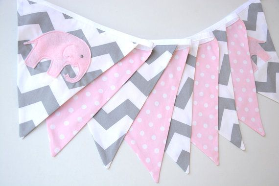 Pink and grey, spots and chevron bunting with elephant theme. Pink felt elephants have been cut, sewn and embroidered with love, to create the