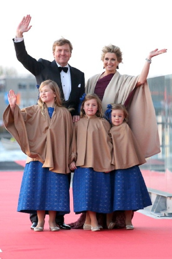 King Willem Alexander; Queen Maxima and their daughters Princess Catharina-Amalia; Princess Alexia and Princess Ariane of The Netherlands arrive at the Muziekbouw following the water pageant after the abdication of Queen Beatrix and the Inauguration of King Willem Alexander