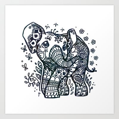 Henna Tattoo Elephant Art Print by Ravenno - $15.00