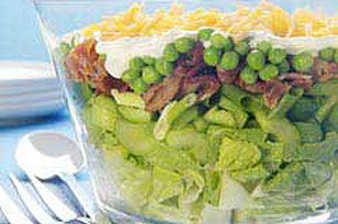 7 Layer Salad    1 pkg. (16 oz.) salad greens/    2 stalks celery, thinly sliced/    1/2  cup chopped green peppers/    2  green onions, sliced/      1 pkg. (12 oz.) Center Cut Bacon, cut into 1-inch pieces, cooked/     1 pkg. (10 oz.) frozen peas, thawed/    3/4 cup KRAFT Real Mayo Mayonnaise/     3/4 cup KRAFT Shredded Sharp Cheddar Cheese/