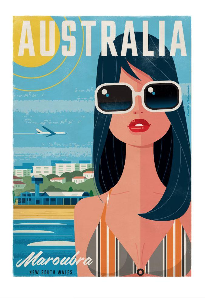 Maroubra Beach Travel poster 70 x 100cm available from: info@russelltate.com #russelltate