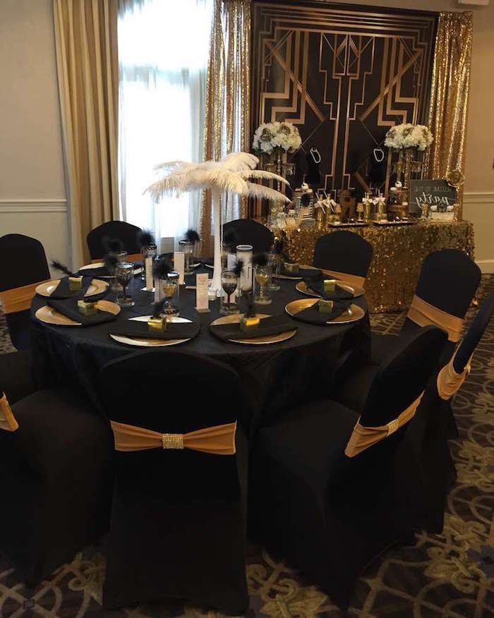 60th Birthday Color Round Black Table With Black Chairs Decorated With A White Ostrich Feather Cente 60th Birthday Party 60th Birthday 70th Birthday Parties
