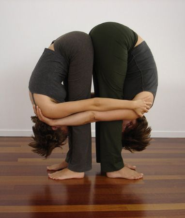 "Double Your Pleasure: Partner Yoga Poses: Looking for a healthy way to celebrate Valentine's Day? Try these partner yoga poses with your friend or special someone. As we like to say, ""Open hamstrings, open heart."""