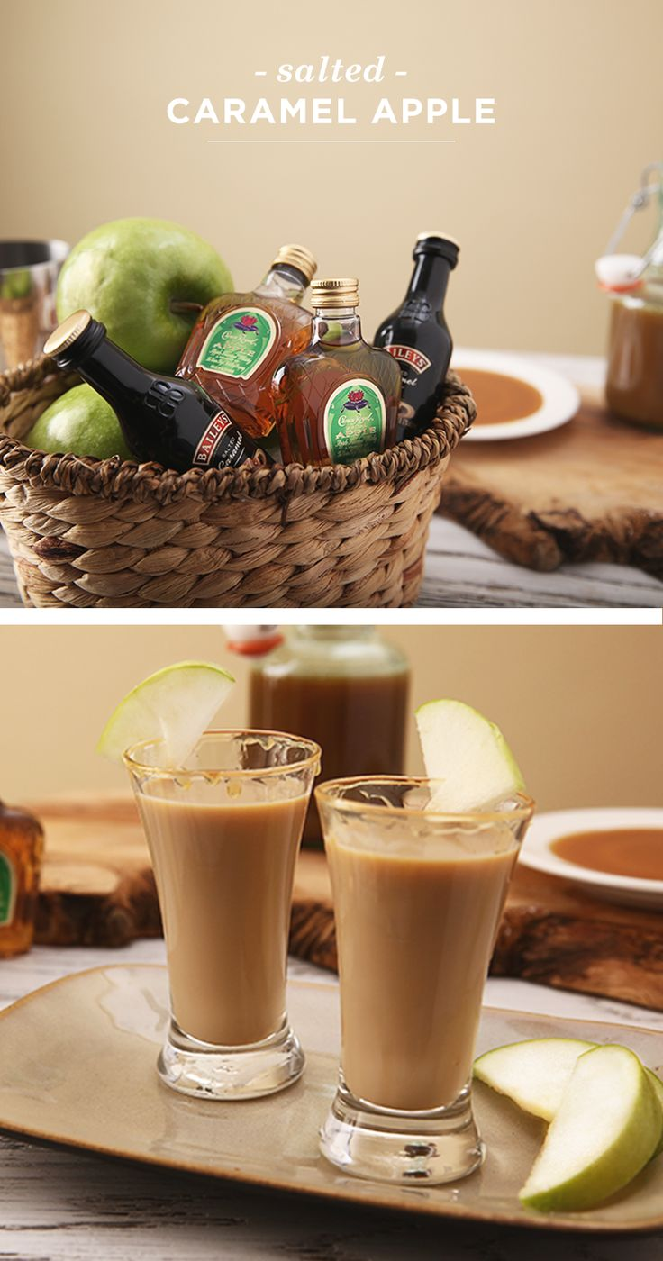 The recipe for this delicious Salted Caramel Apple cocktail just may be the perfect holiday gift for your friends! Mix 1 oz. Baileys™ Salted Caramel Irish Cream Liqueur and 0.5 oz. Crown Royal Regal Apple™ Flavored Whisky in a cocktail shaker with ice. Strain into a shot glass rimmed with 0.25 oz. caramel syrup, and garnish with an apple slice. The best part about this present? No wrapping paper required!
