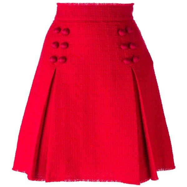Dolce & Gabbana front pleat button skirt (1,594 CAD) ❤ liked on Polyvore featuring skirts, mini skirts, red, button skirt, high waisted short skirts, high rise skirts, short mini skirts and dolce&gabbana