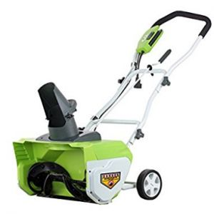 GreenWorks 26032 12 Amp 20-Inch Corded Snow Thrower - Electric Snow Shovel with Wheels