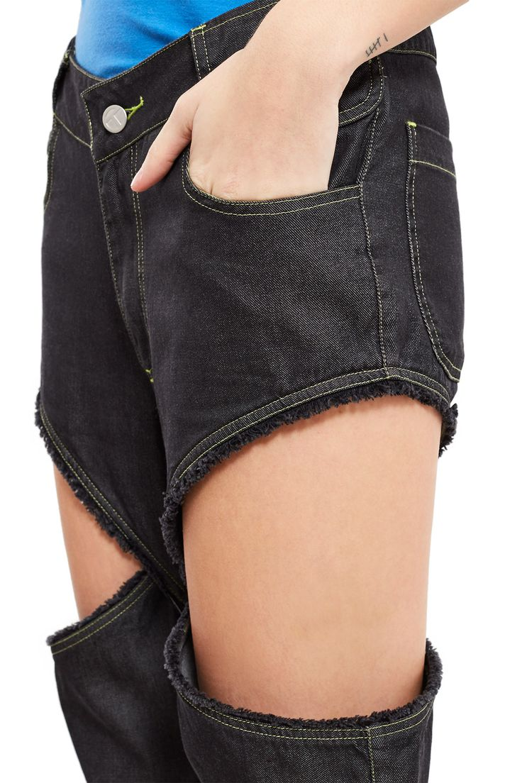 Telfar, Simplex Open Side Jeans These open-side jeans sport cut-out details at thighs with frayed edges., Contrast topstitching, Zip fly, button closure, Extended belt loops, Four pocket style, Mid-rise, Straight fit, 100% cotton, Imported