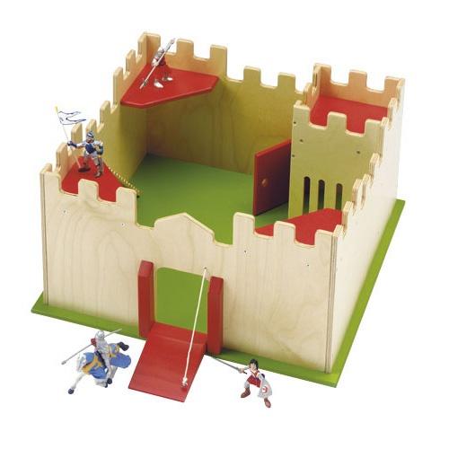 ---Kasteel Educo---  Dit kleurrijke, grote houten kasteel stimuleert de fantasie van ieder kind. Door middel van de ophaalbrug hebben de ridders toegang tot het kasteel, welke voorzien is van o.a. een uitkijktoren en een gevangenis.  Formaat: 45 x 45 x 26 cm (l x b x h).    522504
