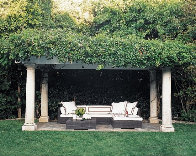 maybe someday: Outdoor Seats, Elle Decor, Pergolas, Outdoor Rooms, Arbors, Columns, Outdoor Living Rooms, Backyard, Outdoor Spaces