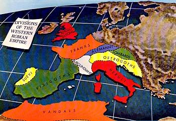 Divisions of Roman Empire: Alemanni Anglo-Saxons Franks Burgundians Visigoths Suevi Ostrogoths Heruli Lombards Vandals
