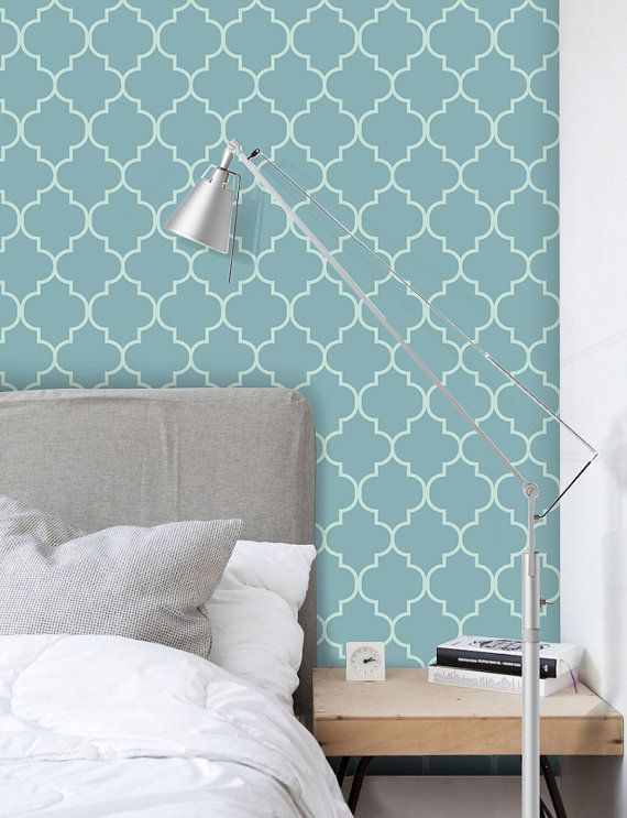 Removable Fabric Wallpaper Moroccan Print by BCMagicSticker