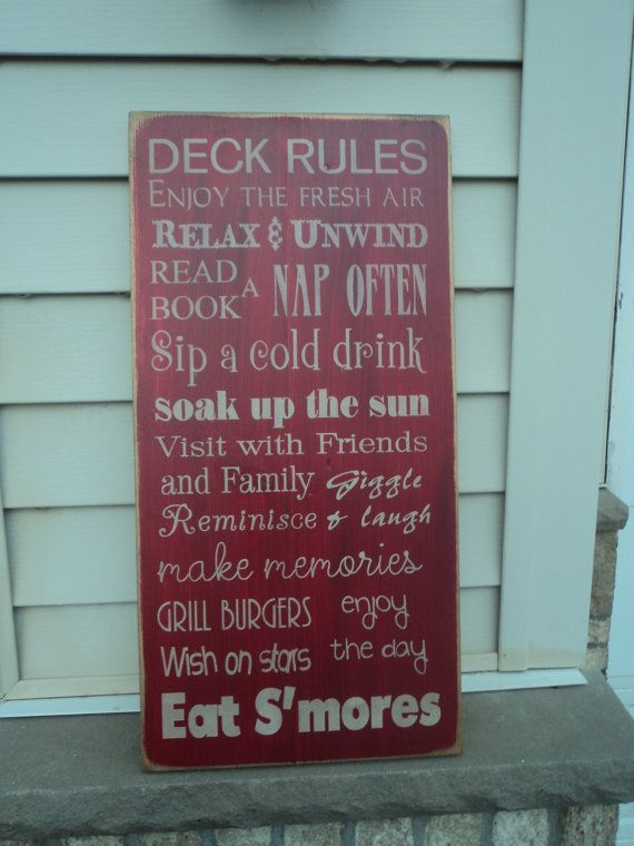 Vintage Style Porch backyard Deck Patio Rules by Wildoaks on Etsy, $41.00