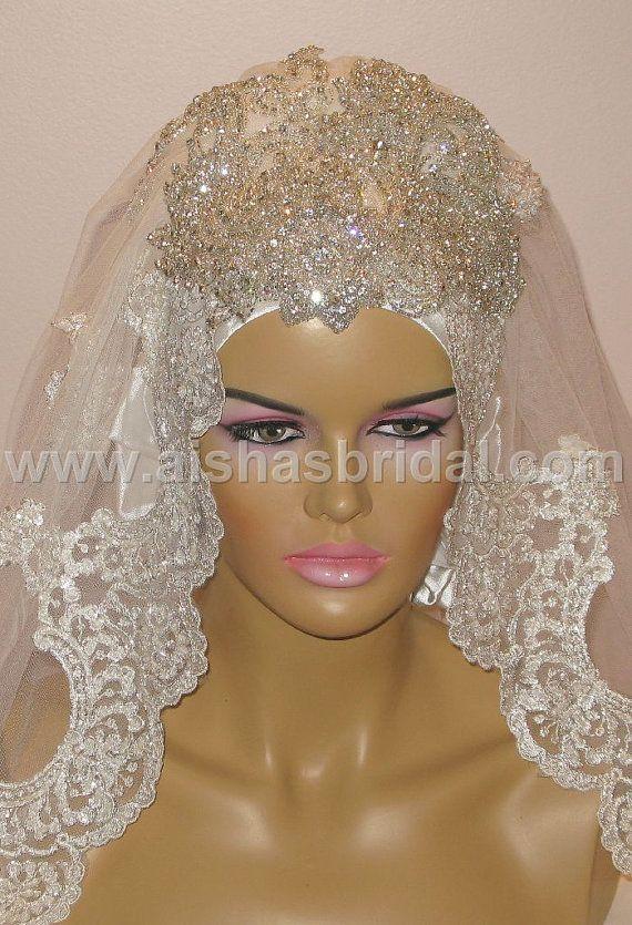 Ready To Wear Bridal Hijab  Code HGT353 by HAZIRTURBAN on Etsy, $175.00