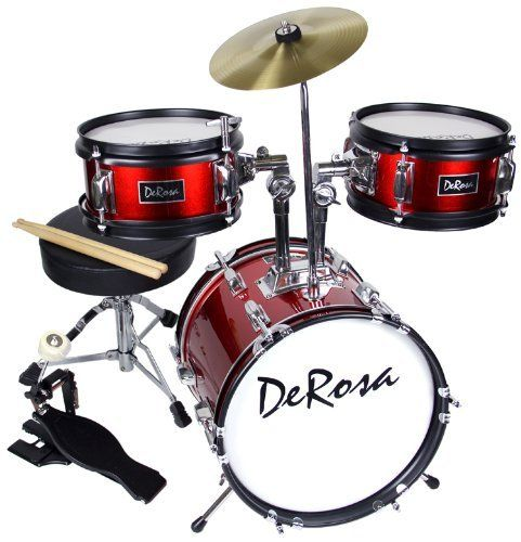De Rosa by Bridgecraft 3-Piece 12-Inch Kids Drum Set - Ruby Red by Bridgecraft. $114.95. This sturdy Bridgecraft DeRosa three-piece kid's drum set is sized just right for children 3 to 6 years old. Built to last, this durable drum set features real birch wood multi-ply shells, fully tunable top and bottom heads, and real metal hardware. The bass drum has attractive color-matched inlaid rims for a professional look. In addition, the set includes tilting cymbal stand and drum ...