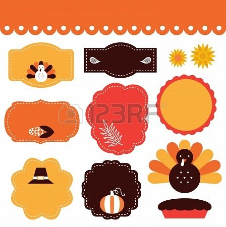 Thanksgiving frames and tags  Vector collection