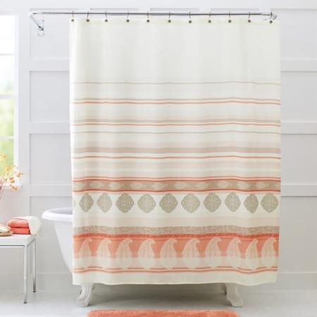 Better Homes And Gardens Paisley Stripe Fabric Shower Curtain