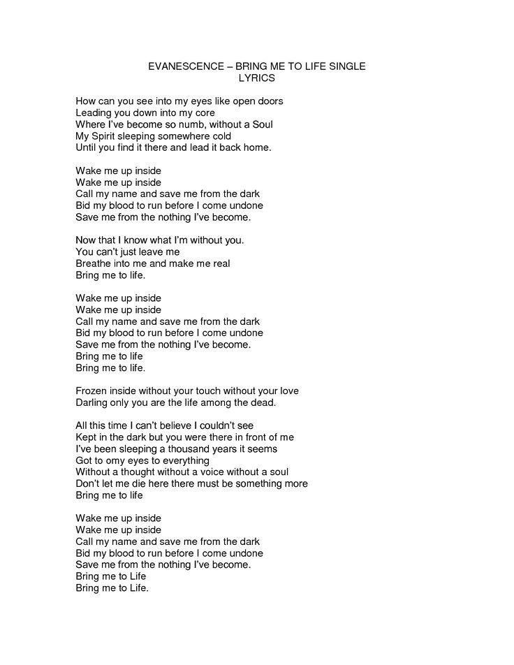 Evanescence-Bring Me To Life lyrics - YouTube