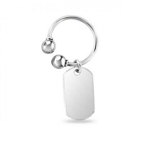 Sterling Silver Modern Dog tag Key Ring Engravable